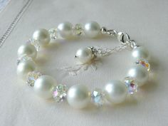 Pearl Bracelet for Bride, Bridesmaids, Flower Girls, Christening gift and Wedding - with Swarovski Crystal - WHITE B-SS002