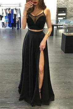 Two Piece Spaghetti Straps Black Chiffon Prom Dress with Slit#prom #fashion #mermaid #dress #dressbarn #promdress #okdressesy #style #love #elegant #promgown #promdresses #style #events #evening #eveningwear #party #partyideas #rhinestones #gowns #bridesmaid #lace #lacedress