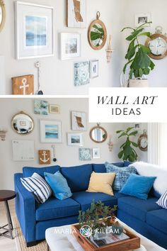 My design assistant Kelly has become an expert at hanging art, she did this without any help from me. I love the coastal feel. Living Room Furniture, Living Room Decor, Living Rooms, Bungalow Renovation, 1950s House, Hanging Art, Timeless Classic, Home Remodeling, Living Room Designs