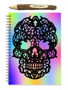 Sugar Skull Notebook - Spiral Notebook - Skull Sketchbook - Papercut Illustration - A5 notebook - Dia de los Muertos - Day of the Dead - pinned by pin4etsy.com