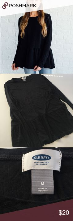 Black fall peplum top ▪️like new ▪️measurements upon request  ▪️always fast shipping  ▪️SAVE 💲 when bundling  ▪️don't be afraid to make me an offer we always can work out a deal 😍💋 Old Navy Tops Blouses