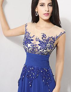 A-line Jewel Floor-length Evening Dress – USD $ 119.99