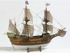 The Billings Mayflower wooden ship model is an accurate reproduction of the real life three-masted galleon launched in 1615.