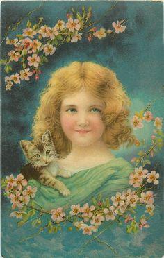 girl in green dress, kitten on shoulder, R. Schmidt
