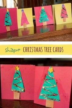 Super simple Christmas tree cards for the holidays (use as gift tags too! Christmas Activities For Kids, Preschool Christmas, Christmas Themes, Holiday Crafts, Christmas Holidays, Simple Christmas, Christmas 2019, Christmas Ornaments, Preschool Arts And Crafts