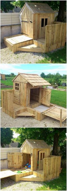 This unique wood pallet creation is some sort of playhouse areas which you can purposely use for so many innovative services. This creation is beige build into the playhouse or the garden cabin form which your kids love to spend much of their vacation time inside it. #outdoorideasforkids #gardenplayhouse #outdoorplayhouse