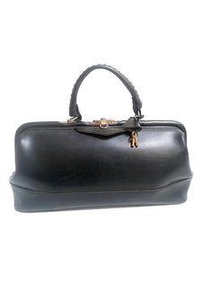 1960 french DOCTOR BAG  black faux leathrer / by lesclodettes, $69.00