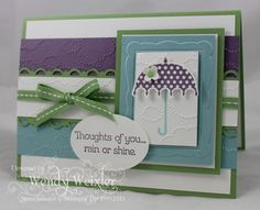 2013 Spring Catalog - Rain or Shine stamp set, Cloudy Day TIEF,  Colors - Baja Breeze, Perfect Plum, Wild Wasabi  Wickedly Wonderful Creations
