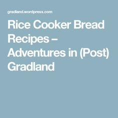 Rice Cooker Bread Recipes – Adventures in (Post) Gradland Rice Cooker Bread Recipe, Rice Cooker Cake, Rice Cooker Recipes, Couple Weeks, No Bake Cake, Bread Recipes, Slow Cooker, Food And Drink, Baking