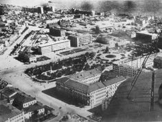 The Square of Fallen Fighters.  This is before the Univermag store was built.  The three long buildings at the top are Houses of Specialists--apartment buildings for municipal tradesmen.