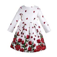 Купить товарС длинным рукавом платье девушки 2015 марка дизайнер девочка платье принцессы розы печать рождество платье добби детская одежда 3 8Y в категории Платьяна AliExpress.          Добро пожаловать  Европа и США бренд детской одежды магазин завода     .  Все изделия изготавливают