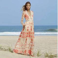 44.3  Haute qualité New Fashion 2016 été femmes manches longues Sexy Deep V  Neck bohême Floral imprimer Holiday Beach Maxi robe longue dans Robes de  Mode ... 851138486d9c