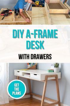 Learn how to build a simple DIY desk using beginner power tools. This is great for work from home office space or study space. #woodworking #anikasdiylife #diydesks Furniture Plans, Diy Furniture, Modern Furniture, Simple Diy, Easy Diy, Piano Room, Desk Plans, Study Space, Beginner Woodworking Projects