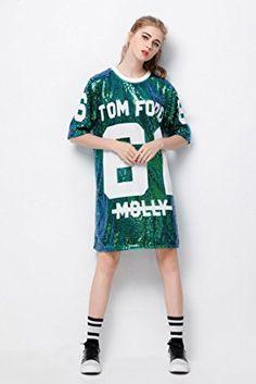 01e328a3c P&R Sparkle Glitter Sequins Hip Hop Jazz Dancing T-Shirt Dress Plus Size  Clubwear - Edance Battle