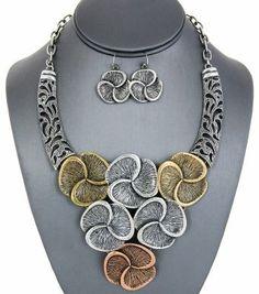 Tri-Tone Floral Bib Statement Necklace