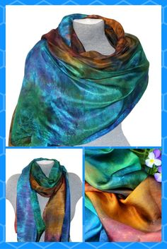 This lightweight silk scarf will be great this summer. Wear it as a neck tie, head scarf, belt. The silk scarf is perfect for year round wear and makes a great luxury gift for someone you love or a much-deserved treat for yourself! Indulge with luxurious unique silk scarves for yourself or as a gift - birthday gifts, anniversary, wedding.