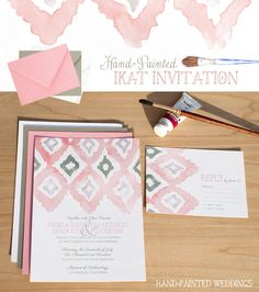 Hand-Painted Ikat Invitation by Hand-Painted Weddings