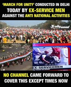 #MarchForUnity by Ex-servicemen, Times Now and Zee News were the only media channels to cover this ...
