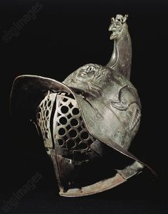 Bronze gladiator parade helmet from the excavations of Pompeii, Roman civilisation.