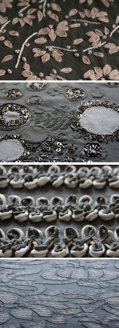 Embroidery samples & 3D applique - fabric manipulation; beaded fabric embellishment; textiles design // Alabama Chanin