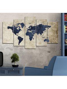 Ventes privées Tableau carte du monde 5 pièces Vivente Deco , réductions Vivente Deco Tableau carte du monde 5 pièces