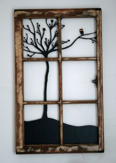 Little owl upcycled window frame by wickedlywooden on Etsy, $145.00