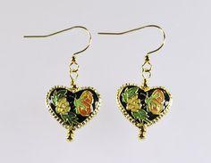 Gold Black Cloisonne Heart Butterfly Flower Enamel Metal Green Yellow Orange Copper Artisan Drop Earrings  available from MistyLaneJewelry on Etsy