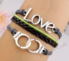 Love & handcuffs Charm Bracelet-Silver Bracelet-Wax Cords and Imitation Leather Bracelet--Friendship Gift--Personalizad Bracelet. $4.99, via Etsy.