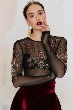 Nasty Gal Show Off Beaded Mesh Bodysuit - Clothes   Dark Romance   Dark Romance   Bustiers + Bodysuits   Tops