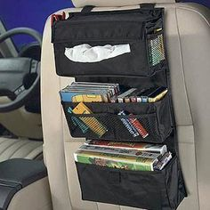 Backseat Entertainment Storage from Clever Container! Organizer Auto, Car Organizers, Pocket Organizer, Car Storage, Storage Bins, Storage Ideas, Car Hacks, Car Travel, Travel Stuff