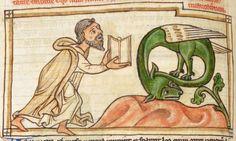 Animal detail from medieval illuminated manuscript, British Library Harley MS 3244, 1236-c 1250, f61v