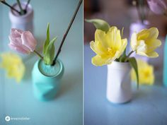 Vase aus Bierdose, Dosen upcyceln Vasen, Upcycling, Pastellfarben, Blumenvasen, Osterdeko, Frühling, Frühlingsdeko