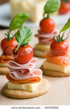 Canapes Stock Photo (Edit Now) 45476056 Finger Food Appetizers, Appetizers For Party, Kos, Finger Foods For Kids, Cocktail Party Food, Snacks Für Party, Canapes, Creative Food, Food Inspiration