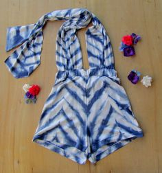 High Waisted Chevron Beach Babe Romper Shorts Hand Shirbori Tie Dyed Pin up native swimsuit cover up on Etsy, $65.00