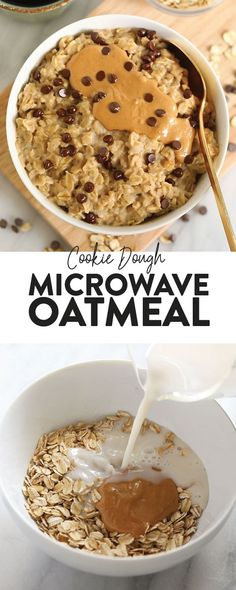 2-Minute Microwave Oatmeal (that tastes like cookie dough!) - Fit Foodie Finds Gluten Free Cookie Dough, Cookie Dough Fudge, Cookie Dough Frosting, Healthy Cookie Dough, Chocolate Cookie Dough, Edible Cookie Dough, Healthy Cookies, Smores Dessert, Dessert Party