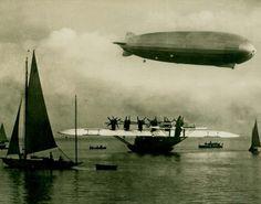 """""""Am Bodensee. Großflugzeug """"Do X"""" und Luftschiff """"Graf Zeppelin"""" (via)"""
