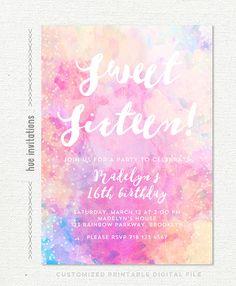 16th birthday party invitation, rainbow watercolor sweet sixteen birthday invitation for girls, artsy geometric custom digital invitation