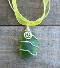 Blue wire wrapped beach glass necklaceblue sea by patsartdesign green wire wrapped beach glass necklace green sea by patsartdesign aloadofball Images