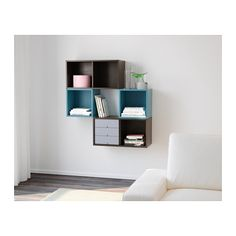 IKEA - VALJE, Wall cabinet, , You can create your own unique solution by freely combining cabinets of different sizes, with or without doors… Living Room Storage, Wall Storage, Storage Cubes, Ikea Valje, Ikea Eket, Hacks Ikea, Wall Cubes, Blue Shelves, Ikea Decor
