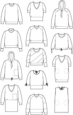 »Sweatshirts« af Sofie Meedom. Hæfte med snitmønstre og syteknik til bluser, toppe og kjoler.