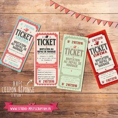 ticket cinéma mariage original vintage rétro - bohème champêtre couleurs poudré .perso photo