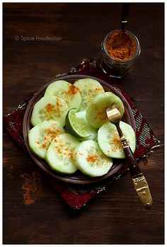 Mexican Cucumbers with Chile and Lime. Easy, healthy and tasty! | giverecipe.com | #cucumber #salad #healthy