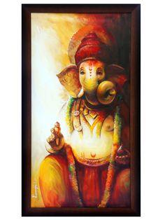 sitting ganesha by Ranjit Sarkar Ganpati Drawing, Ganesha Drawing, Lord Ganesha Paintings, Lord Shiva Painting, Ganesha Art, Buddha Painting, Krishna Painting, Canvas Painting Designs, Texture Painting On Canvas