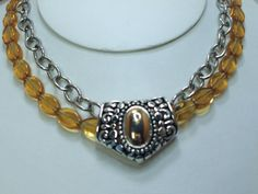 Silver and Gold Necklace Amber Topaz Glass with chunky chain, removable slider. $20.00 by Connieosity To order https://www.etsy.com/shop/Connieosity?ref=si_shop