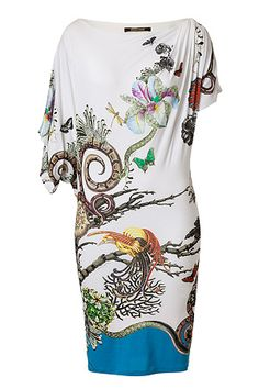 Ivory-Multi Jewel & Snake Print Draped Jersey Dress by Roberto Cavalli