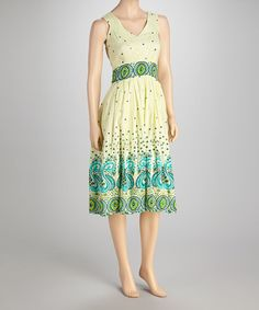 Take a look at this Off-White & Blue Beaded Dress by Mystery on #zulily today!