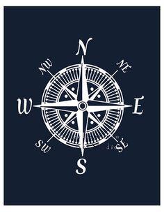 Compass Art Nautical Decor Navy blue Teen Boys by EmilysWanderlust