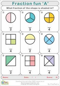 Fractions and division made easy with this fun series of printable worksheets:  http://bouncelearningkids.com/ws-fraction-fun/
