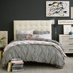 Pinned before, but repinning because I found where it's sold!!  West Elm Pintuck duvet cover: also in white, ivory, dark gray, pale blue and lavender