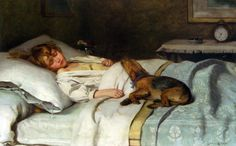 My Mother used to love paintings of children with their dogs.  There really isn't another animal that loves you so totally unconditionally... I suspect no one ever loved their dogs more than my Mother.  Sweet art, this is!  The Land Of Nod, Lance Calkin. English (1802-1864)